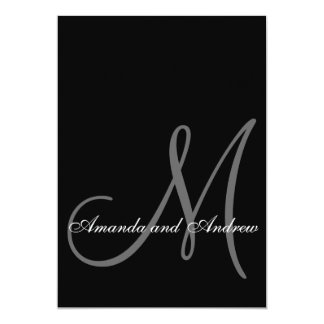 Black White Modern Wedding Invitation Initial