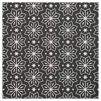 Black White Monochrome Flower Star Pattern Print Fabric