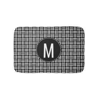 Black & White Monogram Modern Basket Weave Pattern Bath Mat
