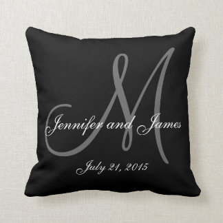 Black White Monogram Names Wedding Keepsake Pillow Throw Cushions