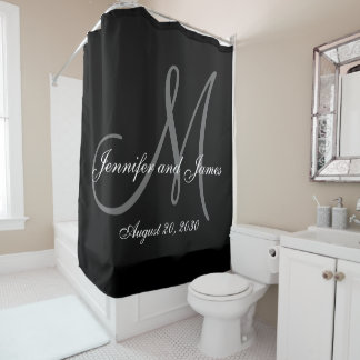 Black White Monogram Newlyweds Names Wedding Shower Curtain