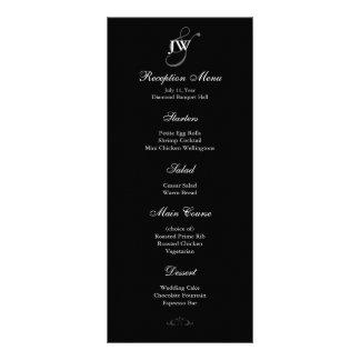 Black & White Monogram Reception Menu Custom Rack Card
