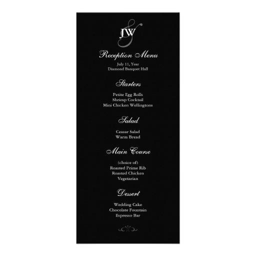 Black & White Monogram Reception Menu Full Color Rack Card