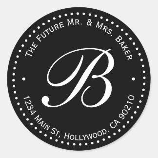 Black & White Monogram Round Return Address Label Round Sticker
