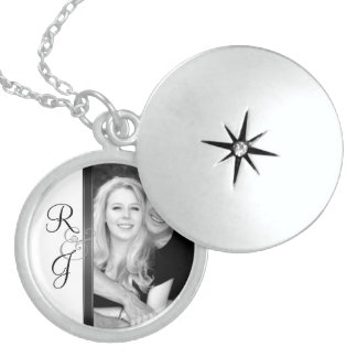 Black & White Monogram Silver Wedding Necklace