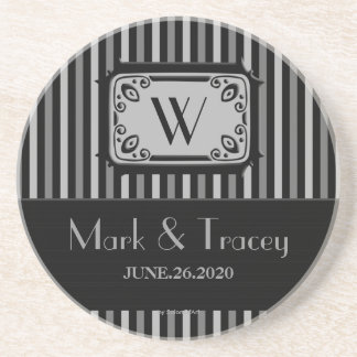 Black/White Monogram Wedding Coaster