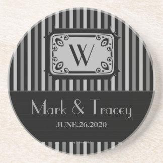 Black White Monogram Wedding Coaster