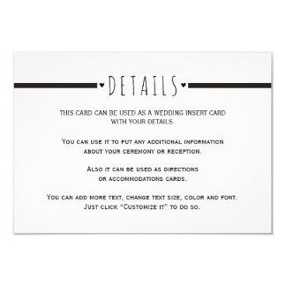Black white monogram wedding details insert card