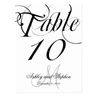 Black White Monogram Wedding Table Number Cards
