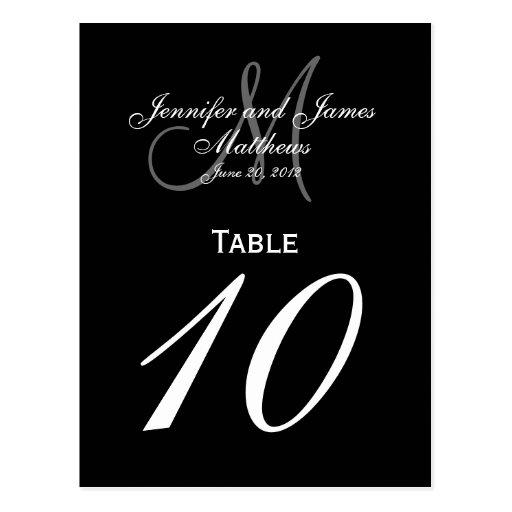 Black White Monogram Wedding Table Number Cards Postcards