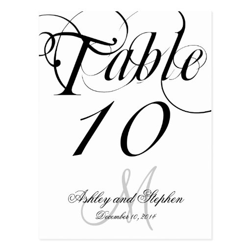 Black White Monogram Wedding Table Number Cards Postcard
