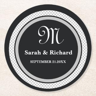 Black White Monogram Wedding Thank You Polka Dots Round Paper Coaster