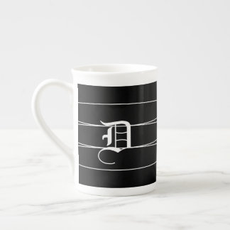 Black & White Monogrammed Bone China Mug