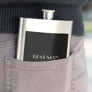 Black White Monogrammed Name Best Man Typography Hip Flask