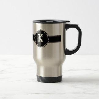 Black White Monogrammed Travel Mug
