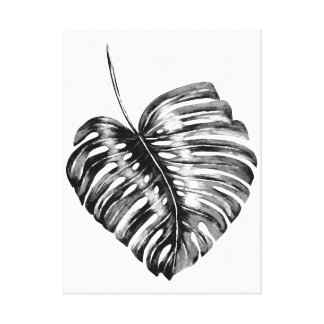 Black white monstera palm leaf tropical watercolor canvas print