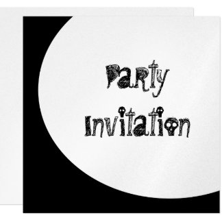 Black & White Moon Spooky Party Metallic Paper 13 Cm X 13 Cm Square Invitation Card