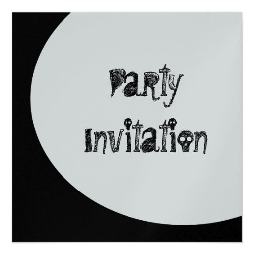 Black & White Moon Spooky Party Metallic Paper Invitations