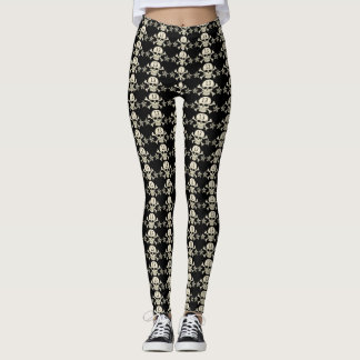 Black & White Morbid Thirteen Skull & Crossbones Leggings