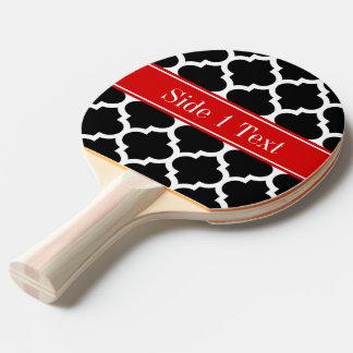 Black White Moroccan #5 Red Name Monogram Ping Pong Paddle