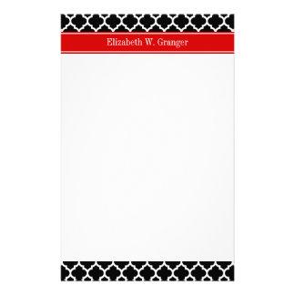 Black White Moroccan #5 Red Name Monogram Custom Stationery
