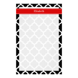 Black White Moroccan #5 Red Name Monogram Stationery Paper