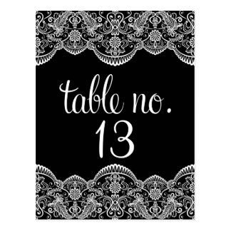 Black & White Moroccan Lace Table Number Postcard