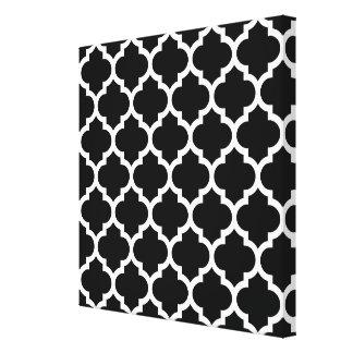 Black White Moroccan Quatrefoil Pattern #5 Stretched Canvas Prints
