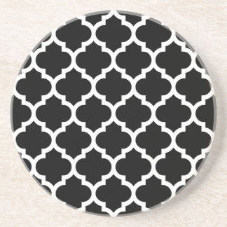 Black White Moroccan Quatrefoil Pattern #5 Coasters