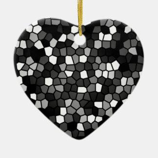 Black & White Mosaic Ceramic Heart Decoration