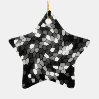 Black & White Mosaic Swirl Ceramic Star Decoration