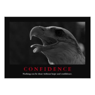 Black & White Motivational Eagle Confidence Quote Poster