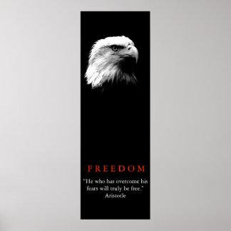 Black White Motivational FREEDOM Bald Eagle Poster