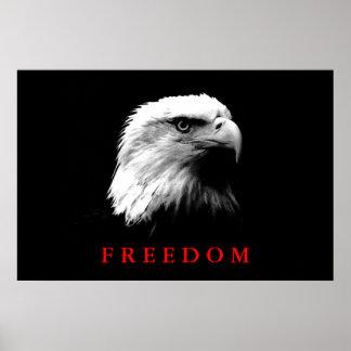 Black White Motivational Freedom Eagle Eyes Poster