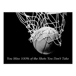 Black & White Motivational Quote Basketball Poster