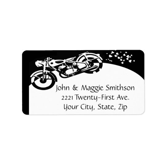 Black & White Motorcycle Address label
