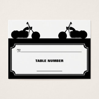 Black White Motorcycle Biker Silhouette Placecards