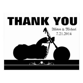 Black White Motorcycle Biker Silhouette Thank You Postcard