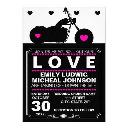 Black & White Motorcycle Biker Silhouette Wedding Announcements