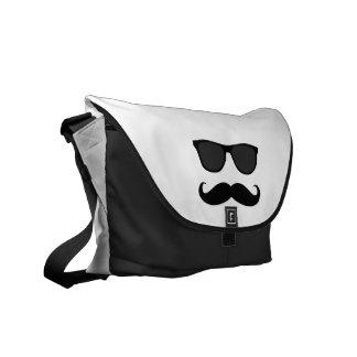 Black White Moustache and Sunglasses Humor Messenger Bags