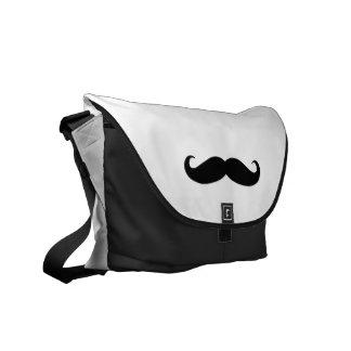 Black White Moustache Humor Messenger Bags
