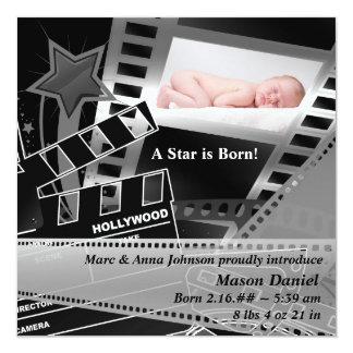 """Black White Movie Star is Born Birth Announcement 5.25"""" Square Invitation Card"""