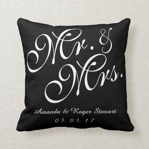 Black & White Mr. and Mrs. Wedding Pillow