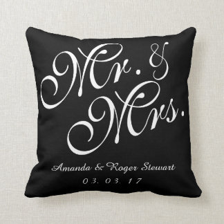 Black & White Mr. and Mrs. Wedding Pillow Cushions