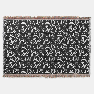 Black White Music Notes Bass Treble Clef Hearts Throw Blanket