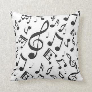 Black & White Music Notes Patter Print Throw Pillow