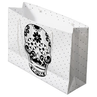 Black & White Mustache Sugar Skull Black Dots Large Gift Bag
