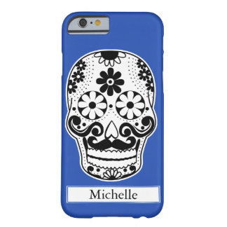 Black & White Mustached Sugar Skull Custom Name Barely There iPhone 6 Case