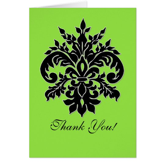 Black, White n Lime, Thank You Note Cards