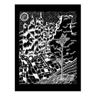 Black & White Nature Drawing Postcard